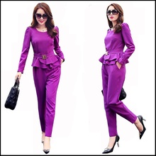 Ladies Pant Suit 2016 Brand New 2 Piece Set Women Elegant Blazer Tops with  Pencil Trouser Sets Costume