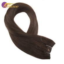Moresoo 12-22 inch Brown Color #4 Flip in Extensions Real Remy Human Hair Fishing Line On 50-100G