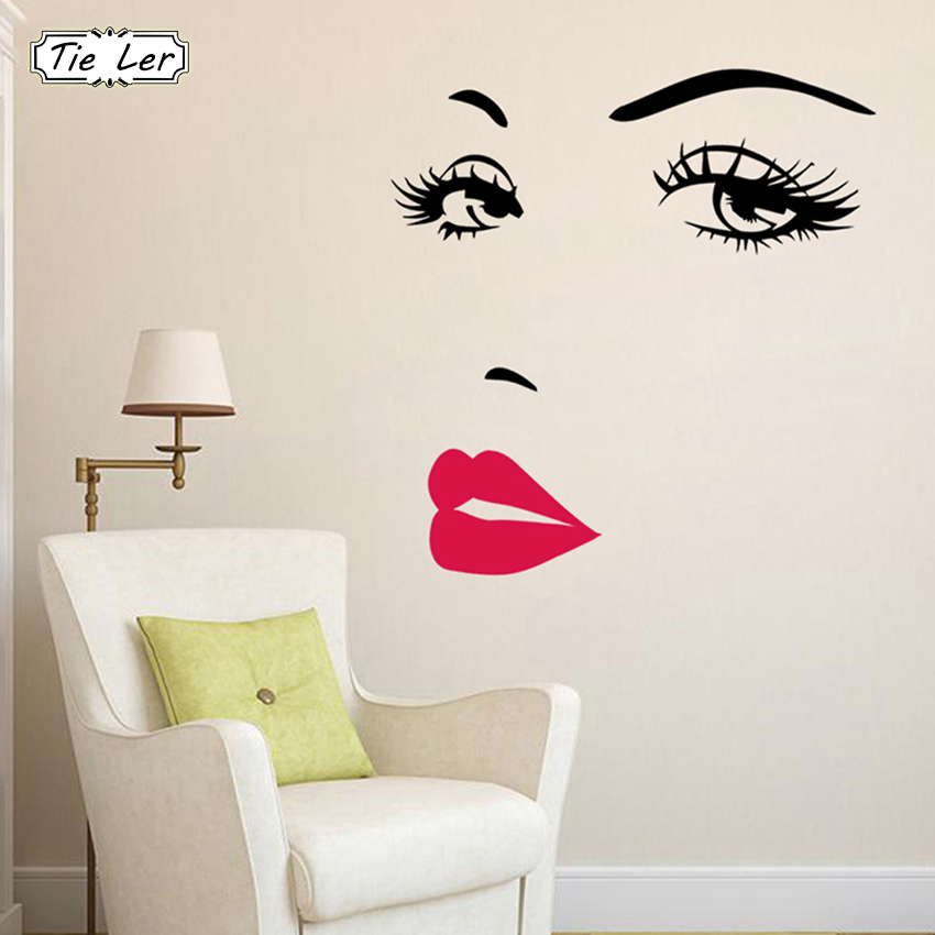 Wall Stickers Girl Makeup Lip Cover Glass Bathroom Wall Stickers Vinyl Decals Stick A40032