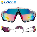 LOCLE Road Mountain Cycling Glasses Goggles Eyewear Polarized UV400 Cycling Bicycle Sunglasses Oculos Gafas Ciclismo 5 Lens