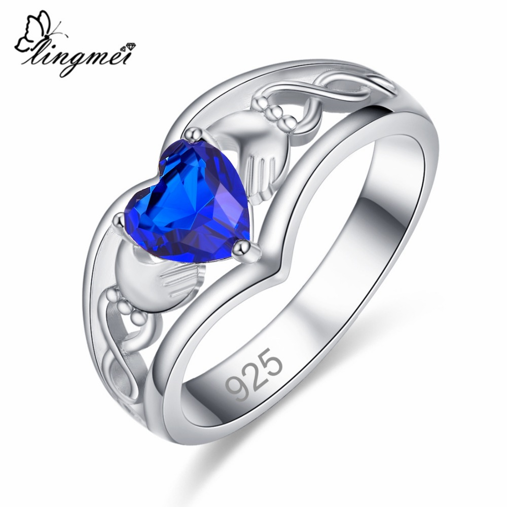 lingmei Claddagh Style Wedding Heart Jewelry For Women Multicolor & Blue Cubic Zircon Silver 925 Solitaire Ring Size 6 -13 Gift 1