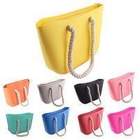 European American Beach Shoulder Bag Travel bag Jelly Korean Fashion Solid Color Silicone Handbag Hand Bags For Women Lady Cute