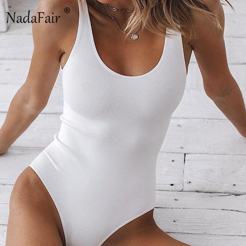 Nadafair Strappy White Bodysuit Sexy Ribbed Black Bodysuit For Women Summer2020 Sleeveless Backlesss Black Tank Top Body Female
