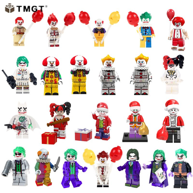 50PCS LOT Horror Movie It Pennywise Joker The Clown Building Blocks Juguetes Toys Gifts For Friends
