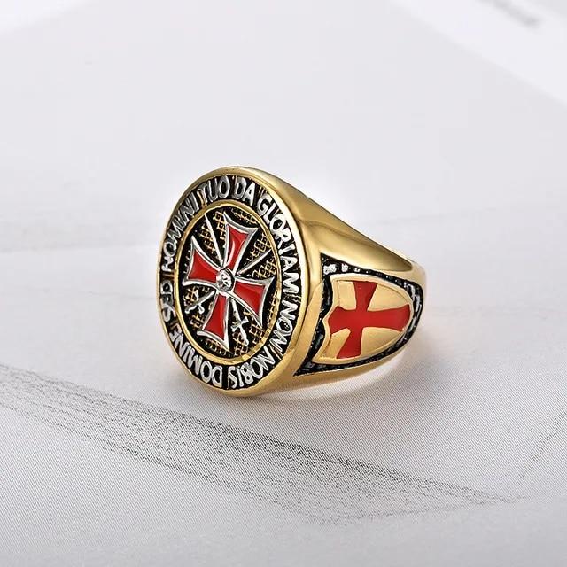 Retro Iron Knights Templar Ring Stainless Steel Men Red Enamel Cross Ring Cubic Zirconia Men Gift US Size 7 to 15 R725G