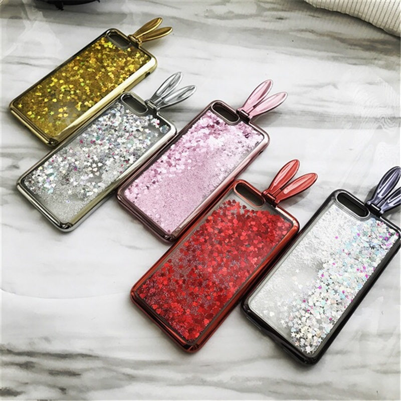 Flashing Sand Electroplating Bunny Ear Mobile Shell Suitable For Iphone 7 Case Iphone 6S Silicone Soft Case 8Plus X