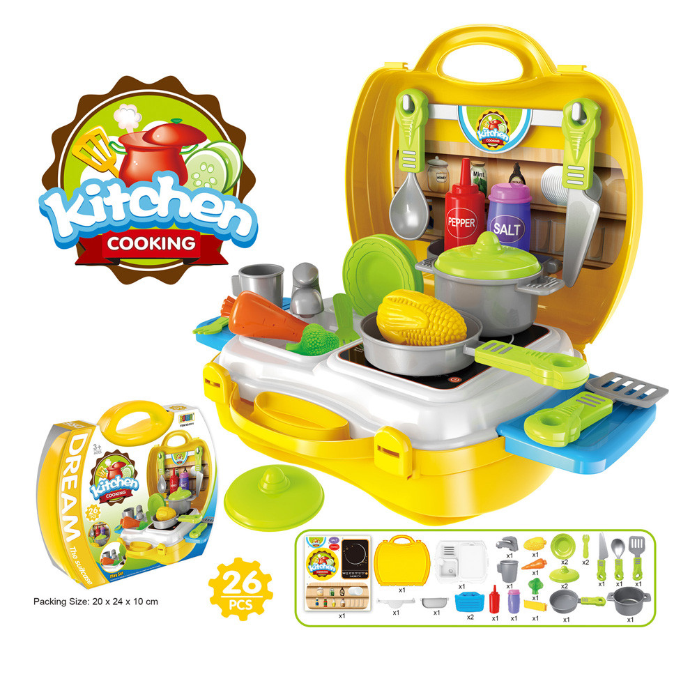 HIINST dollhouse miniatures Kids Kitchen Cooking Pretend Role Play Toy Set with Light Sound Effect APR11HY