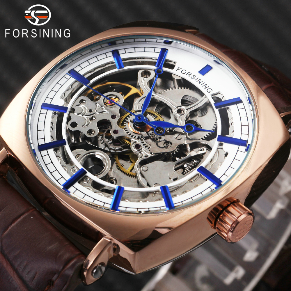 цена FORSINING Vintage Tonneau Auto Mechanical Watch Men Leather Strap Carved Movement Skeleton Mens Watches Top Brand Luxury relogio
