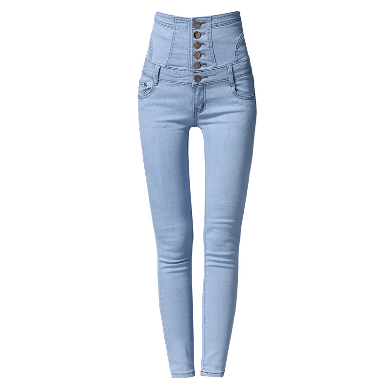 Plus Trousers Black Blue Length Pencil Full Aa11254 High Skinny Jeans blue Denim Waist Size Pants Elastic Ladies Woman Slim sky SFdqd