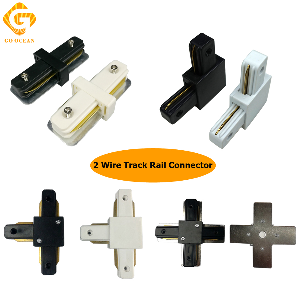 GO OCEAN Track Connector Connectors 2 Wire Track Rail Connector Corner Straight Tracks Lighitng Fixture Parts Connectors