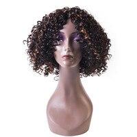 Soloowigs Afro Rizado Pelo Sintético Marrón Negro Destacados Hinchada Llena Del Cordón de la Peluca Negro para la Mujer