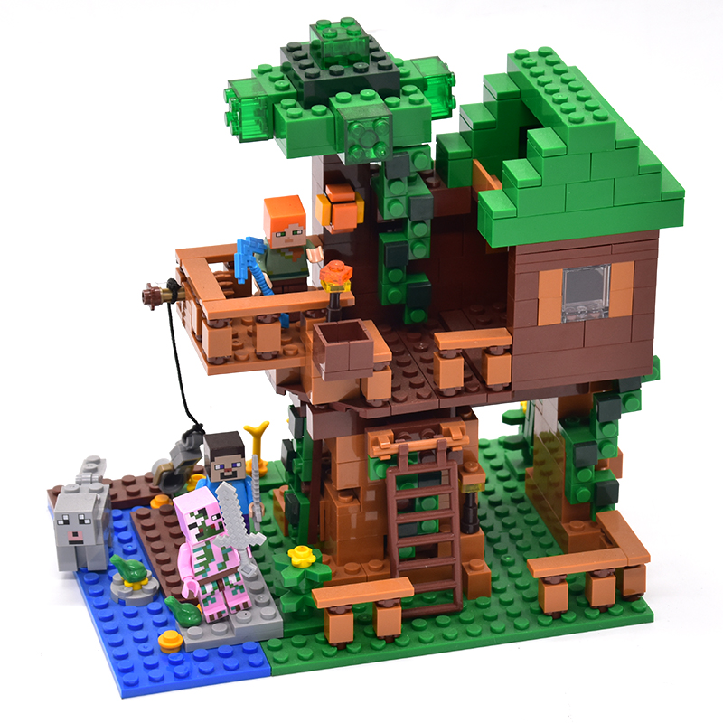LEPIN 406pcs My World The Jungle Tree House Minecraft Figures Building Blocks Bricks Toy for Children Compatible legoingly 21125 my world tree house brick scene series steve mini blocks model building blocks kit toys for children compatible 21125