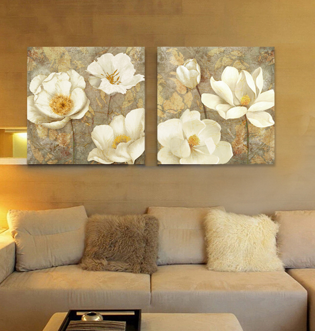 Living Room Flowers Standing Lights For Aliexpress.com : Buy Golden White Flower Canvas Art ...