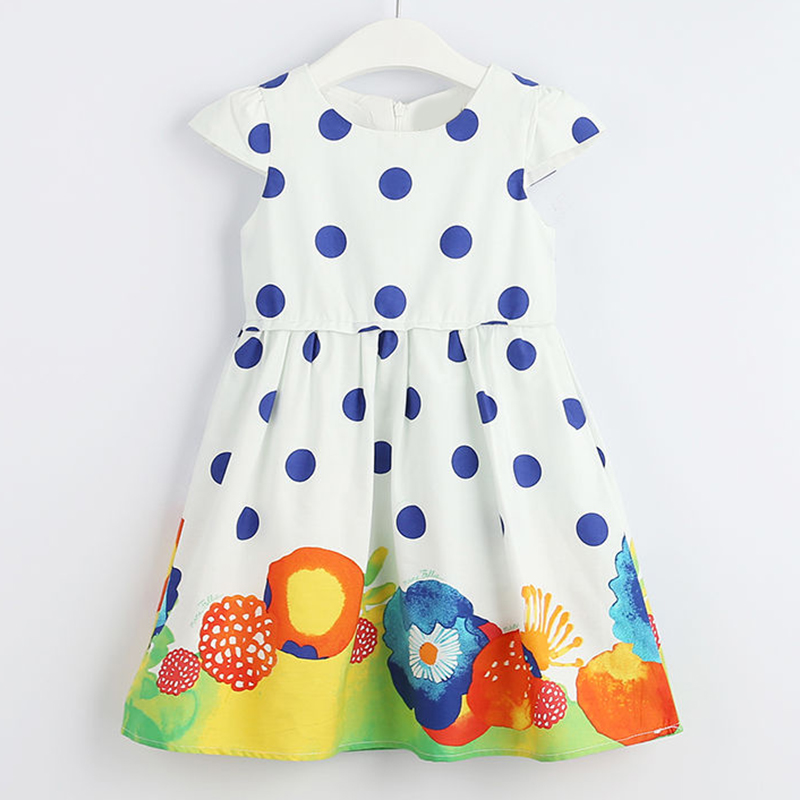 Beenira Girls Dot Dresses 2019 Children Summer Sleeveless Flower Printed Dress Kids European And American Style Clothes Dress