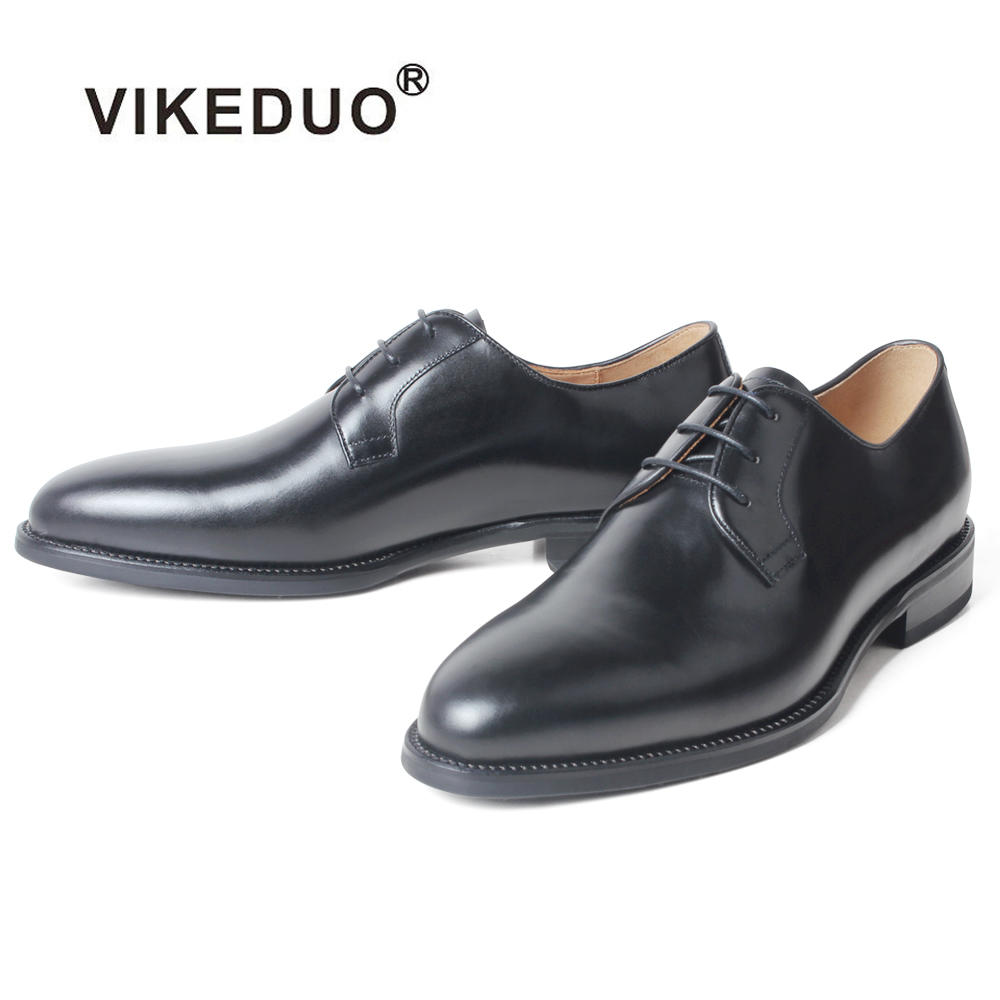 VIKEDUO 2019 New Full Grain Leather Derby Dress Shoes Men's Wedding Office Round Toe Leather Shoes Men Formal Plain Black Zapato