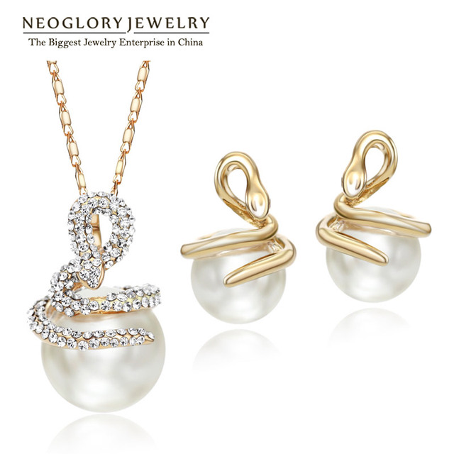 Neoglory Rhinestone Simulated Pearl Jewelry Sets Light Yellow Gold Color  Necklaces Earrings Snake Fashion 2018 CLE b00786f2842a
