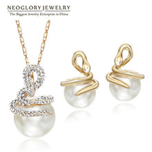 Neoglory Rhinestone Simulated Pearl Jewelry Sets Light Yellow Gold Color Necklaces Earrings Snake Fashion 2018 CLE(China)