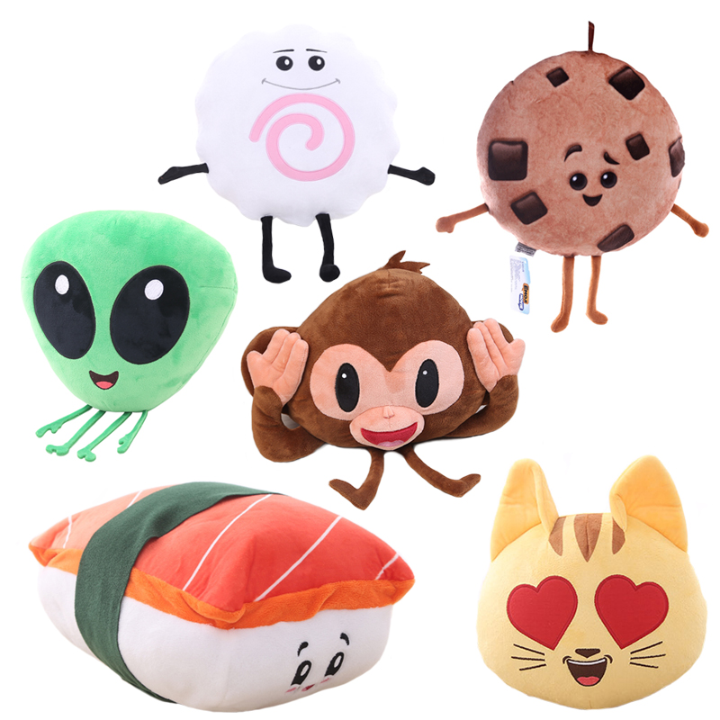 1pc creative emoji movie series plush toy Alienware, Sushi, Love Cat, Cookie, Monkey funny stuffed soft pillow cushion kids gift creative dump monkey falling toy tumbling monkeys party