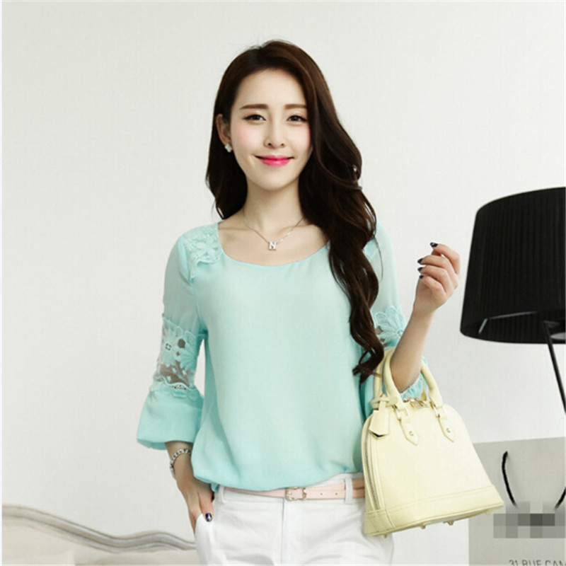 Sweet Large Size Loose O neck Three Quarter Sleeve Chiffon Lace Patchwork font b Blouses b