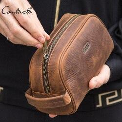 CONTACT'S cosmético bolsa para hombres de cuero de Caballo Loco vintage neceser de viaje Negro Bolso de mano que bolsas de lavado hombre