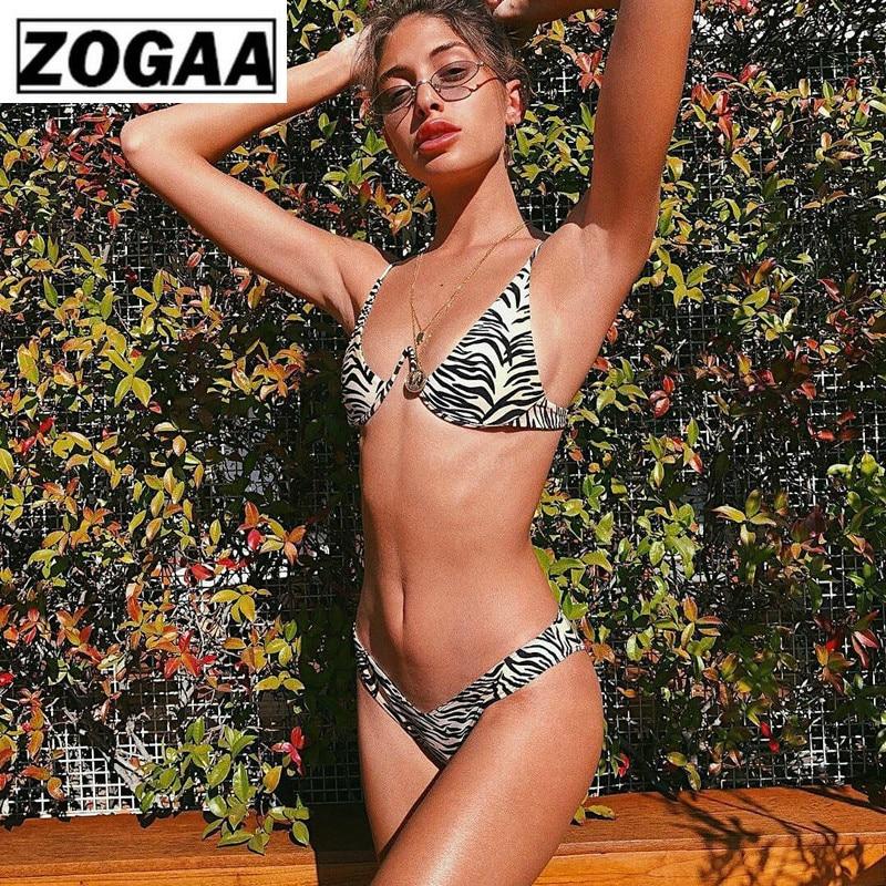 ZOGGA Sexy Leopard Print Women Brace Steel Strap Bikini High-quality 100% Nylon No Wrinkle/fade/shrink Two Piece Set for Women