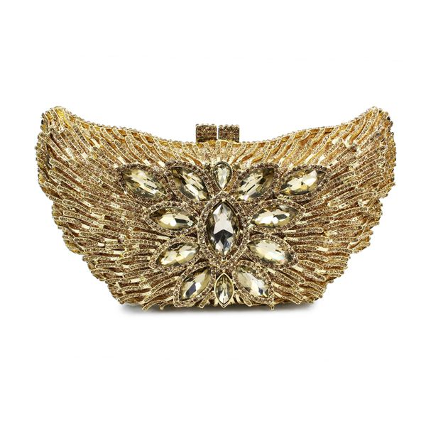 New Design Hard Metal Box Gold Crystal Evening Bag Ladies Fancy Hand