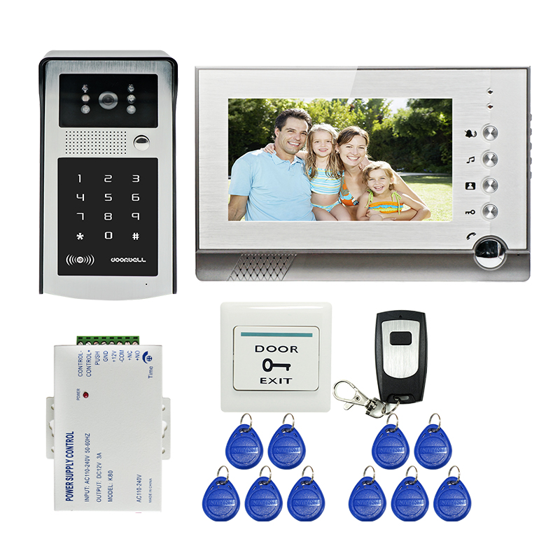 Free Shipping 7 inch Screen Record Video Door Phone Intercom System + Outdoor RFID Code Keypad Doorbell Camera + 8G SD In Stock