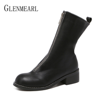 Luxury Women Boots Genuine Leather Mid Calf Shoes Platform Thick Heels Round Toe Boots Female Fashion