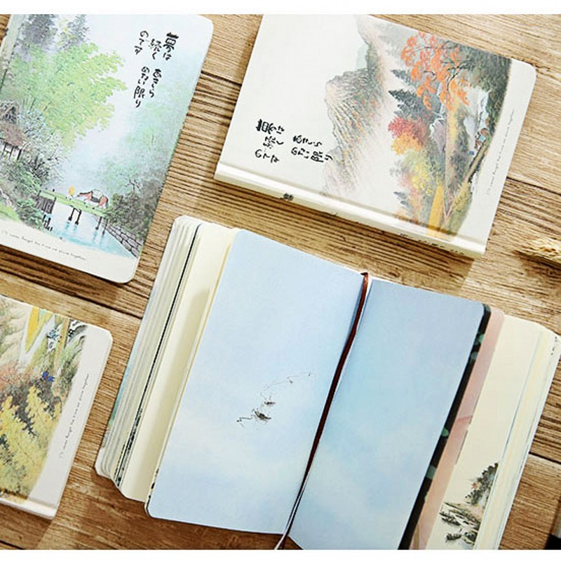 Vintage Notebook Chinese Style Hardcover Blank Color Pages Paper