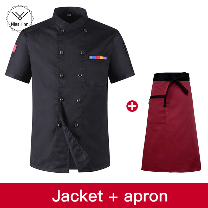 Black Stand Collar Double-breasted Chef Coat Men's And Women's Overalls Hotel Uniform Bar Special Sushi Uniform+beauty Apron