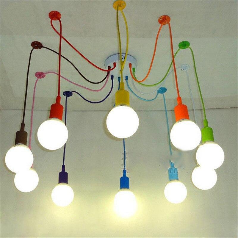 Modern Spider Chandelier Simple Colorful Pedant Light Loft Industrial Hanging Lamp Dinning Room Kitchen Cafe Shop Bar Country