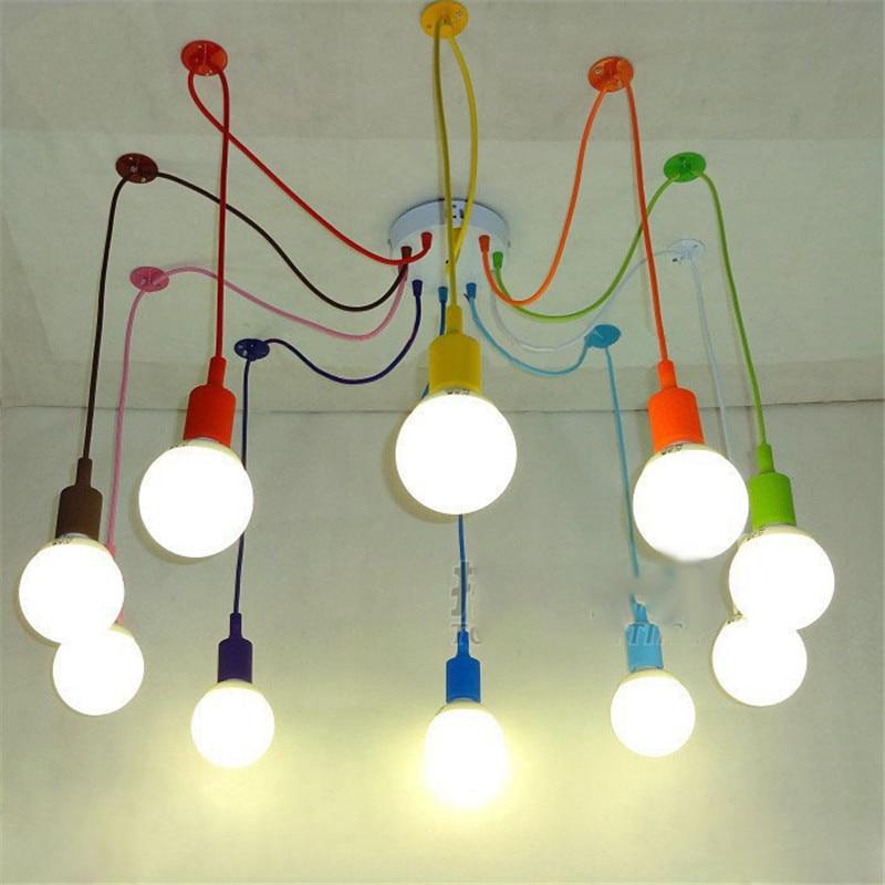 Işıklar ve Aydınlatma'ten Kolye ışıkları'de Modern Örümcek Avize Basit Renkli Kolye Işık Loft Endüstriyel Asılı Lamba Yemek Odası Mutfak Cafe Shop Bar Ülke title=
