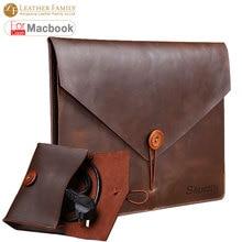 Для macbook pro 13 случае оригинальный ретро подлинная кожа коровы сумка для macbook air 11 12.9 15.4 дюймов ноутбук с мышь, зарядное устройство, чехол