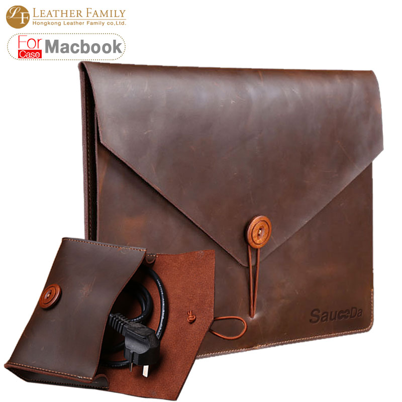 For macbook pro 13 case original retro Genuine cow Leather bag for macbook air 11 12.9 15.4inch laptop with Mouse Charger pouch