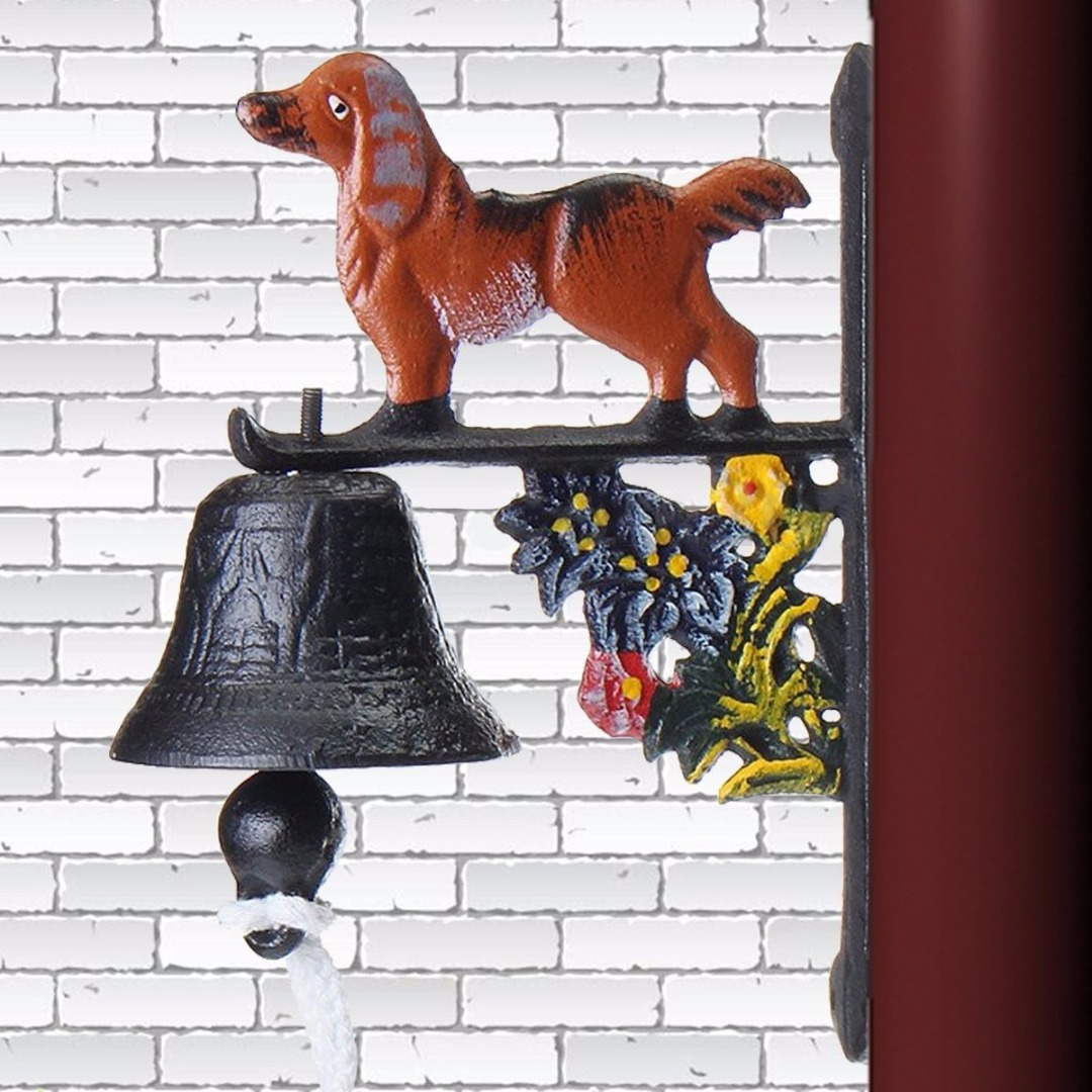 Vintage Style Rusted Dog Cast Iron Door Bell Wall Mounted Garden Decoration Access Control NEW