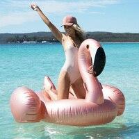 150 CM 60 Polegada Gigante Piscina Float Swim Anel em Ouro Rosa Flamingo Swimtrainer Nadar Jangada Para Adulto Gigante Piscina Inflável Flutuador anel