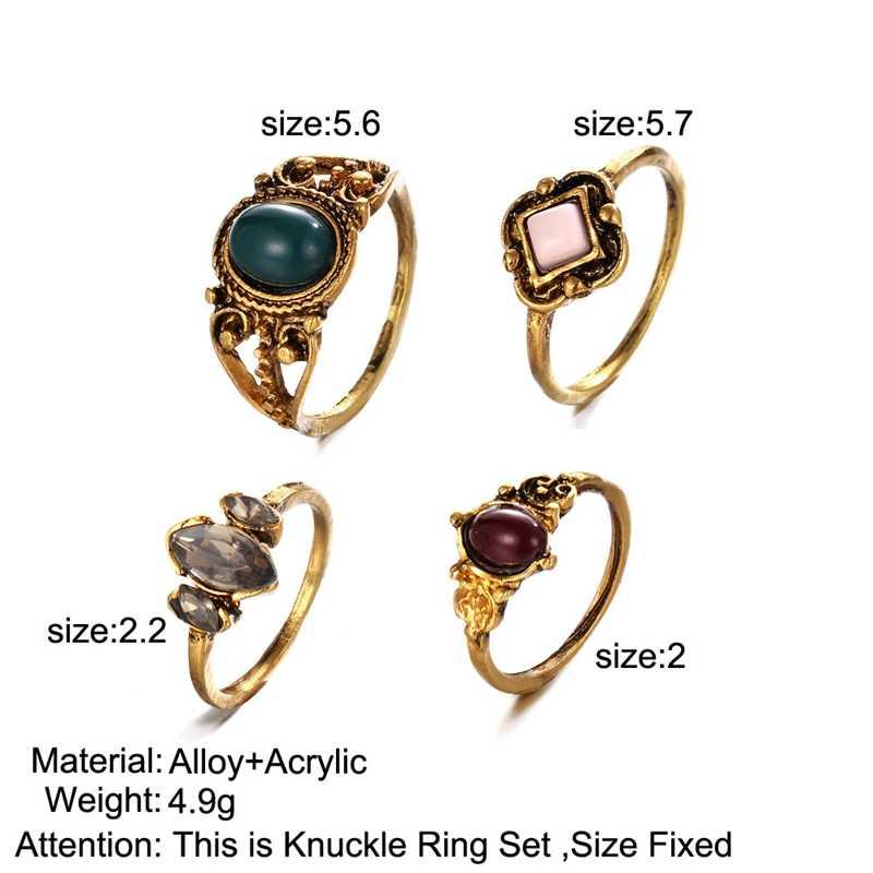 4 Pezzi Stylist Argento Antico e Color Oro Anelli set Opale Pietra Strass Comune Knuckle Nail Midi Anello Tibetano