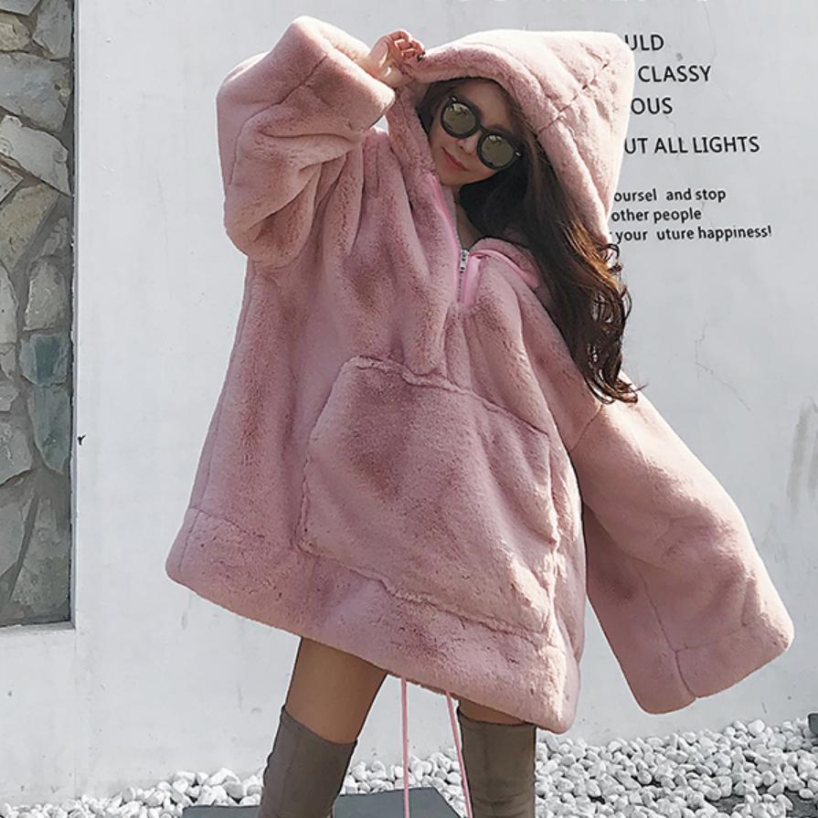 Lâche Black Confortable Veste Peluche grey Pull Épaissir Manteau Femmes De Mode L1778 pink Hiver Longues Des Outwear Capuche Manches À Fourrure Chaud En OnXP80wk