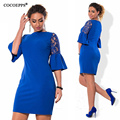 Cocoepps flare dress nuevo 2017 de gran tamaño otoño de encaje de manga plus size mini dress vintage azul party dress vestidos L-6XL