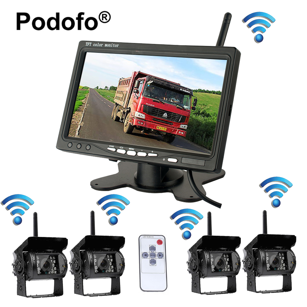 Podofo Wireless 4 Backup Cameras System with 7 Inch Car Rear View Monitor for RV/Box Truck/Trailer/Tractor/Semi Trailer Camera