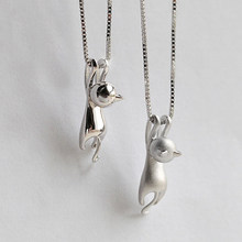 Cute Silver Cat Pendant Necklace Trendy Tiny Cat Dog Pet Animal Long Chain Necklace For Women Girl Charm Jewelry Birthday Gift(China)