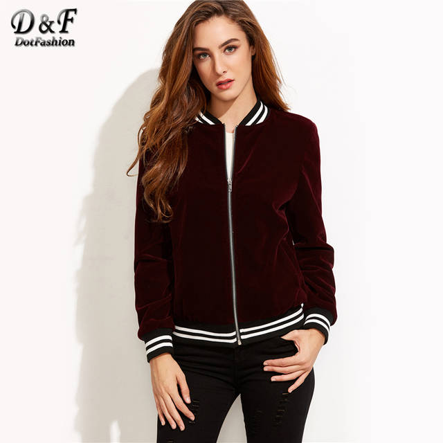 f52c1df8ee6bc Dotfashion Varsity Striped Velvet Bomber Jacket 2019 Burgundy Stand Collar  Coat Ladies Autumn Long Sleeve Zipper