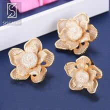 Siscathy 2019 Luxury Cubic Zirconia Stud Earrings Wedding Ring Jewelry Set Flower Shape acero inoxidable joyeria mujer