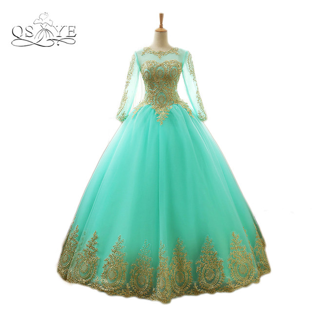 Online Shop 2017 New Arrival Mint Green Ball Gown Prom Dresses 2018 ...