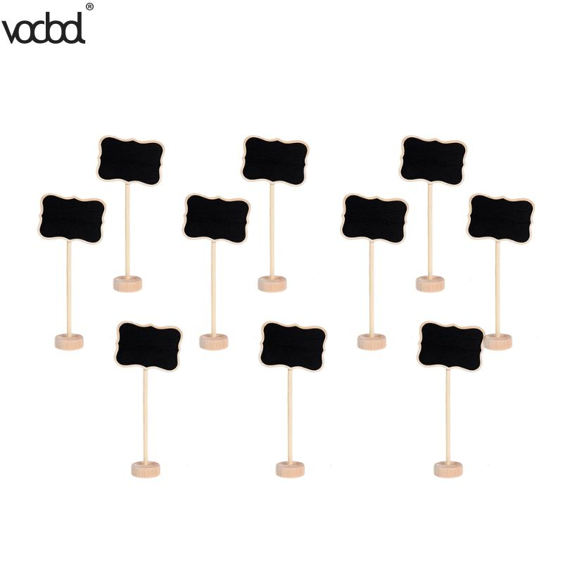 10Pcs Mini Wooden Chalkboard Decoration Borders Children Small Blackboard For Wedding Message Party Memo With Stand Gifts Supply