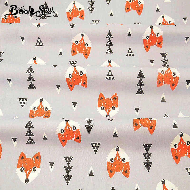 Booksew Cotton Quilting Fabric Baby DIY Patchwork Sewing Foxes Pattern Cloth Gray Tecido Material Textile Fabric Meter Dress