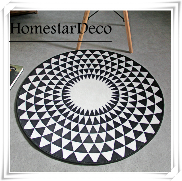 Geometric Round Carpet Circle Rug Yoga Mat Anti Slip Bedroom Office Chair Floor