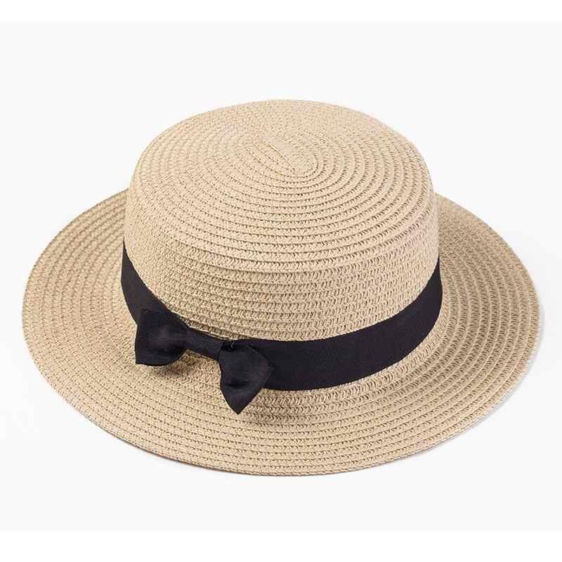 Women boater hat hat Female Summer hats for kids Beach Sun Brand Casual  Lady Bowknot Flat 5a5b217ef883