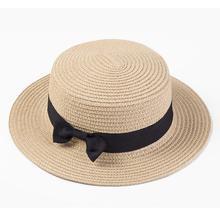 цена на Women boater hat hat Female Summer hats for kids Beach Sun Brand Casual Lady Bowknot Flat Straw Fedora Women Child Cap panama