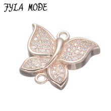 Copper Micro Pave Butterfly Connectors Jewelry Findings Silver Color Butterfly With AAA Zircon Stone 18*17mm 5pcs CHF554